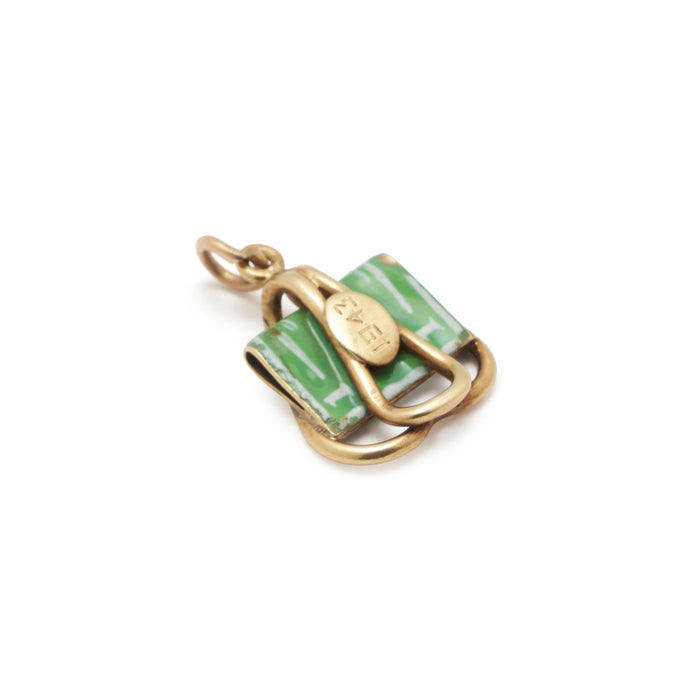 Enamel Money Clip And 14k Gold Charm