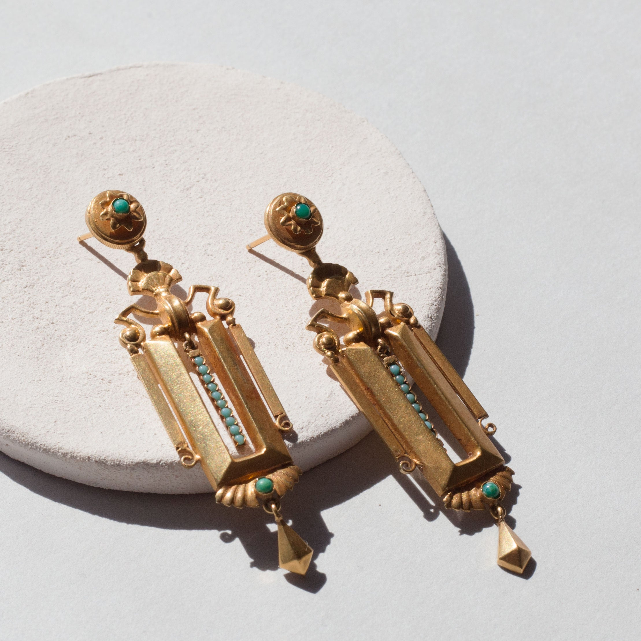 Victorian Etruscan Revival 18K Gold And Turquoise Earrings
