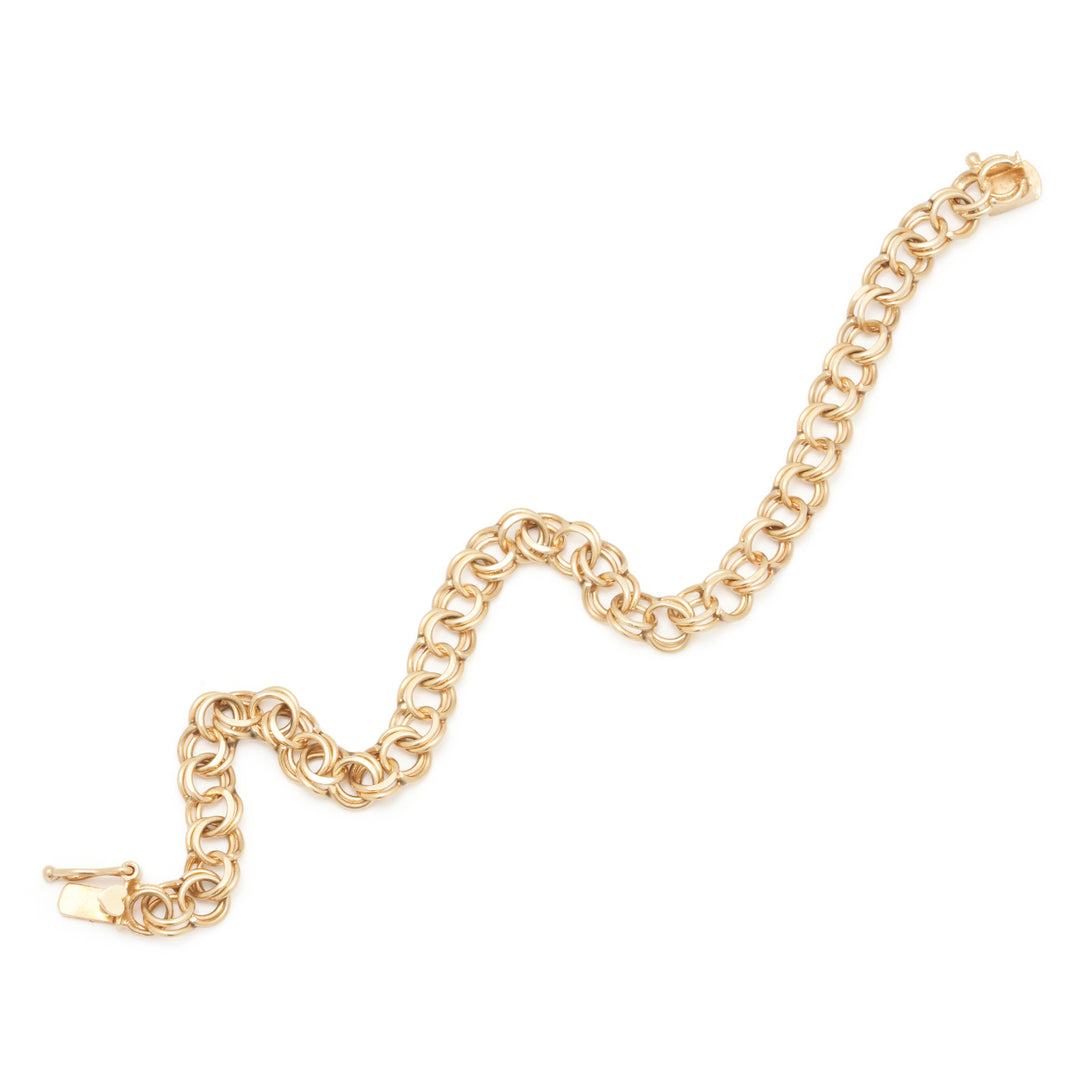 14k Gold Double Link Bracelet With Heart Clasp