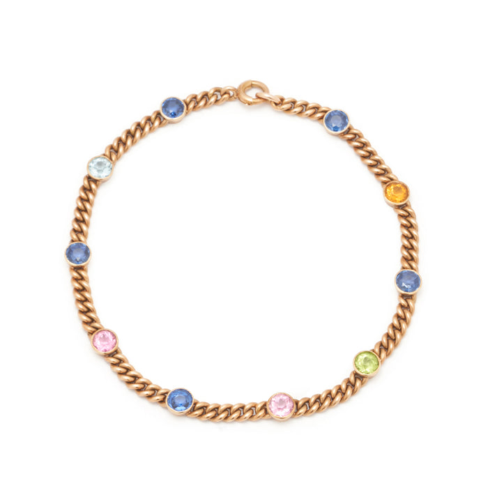 Multi-Stone 14k Rose Gold Chain Bracelet