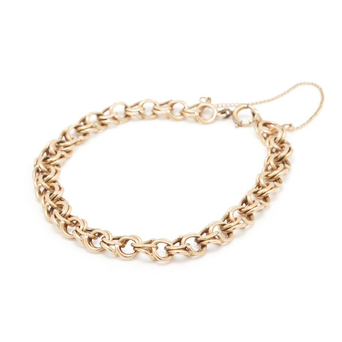 14k Yellow Gold Double Link Cable Chain Bracelet