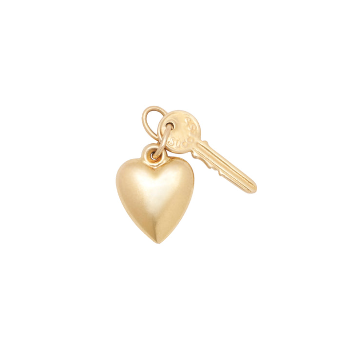 Heart And Key 14k Gold Charm