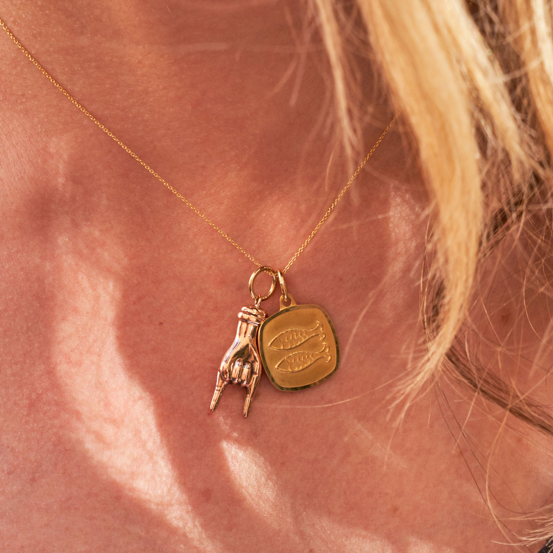 18k Gold Pisces Charm