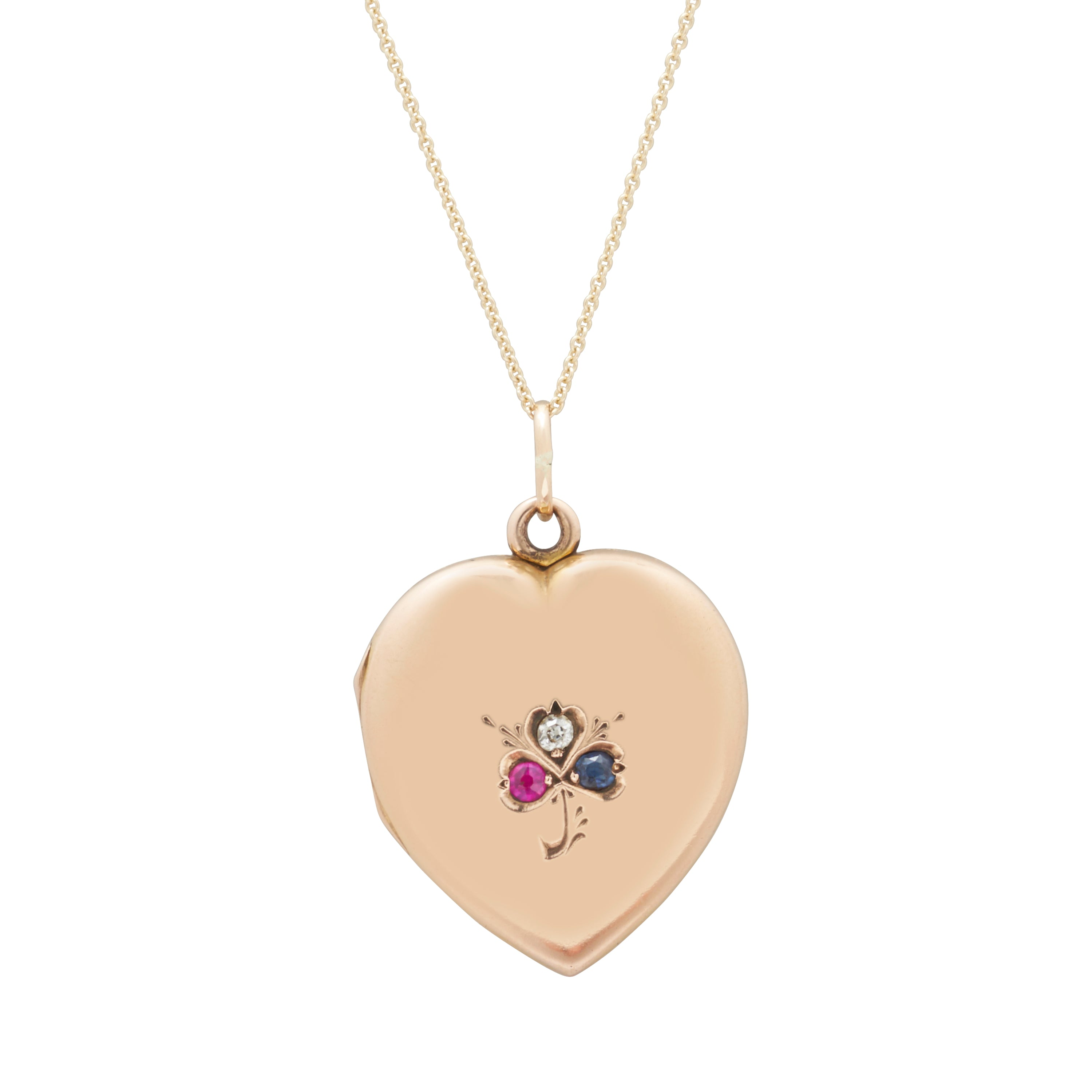 Victorian Heart With Clover 14k Gold Locket