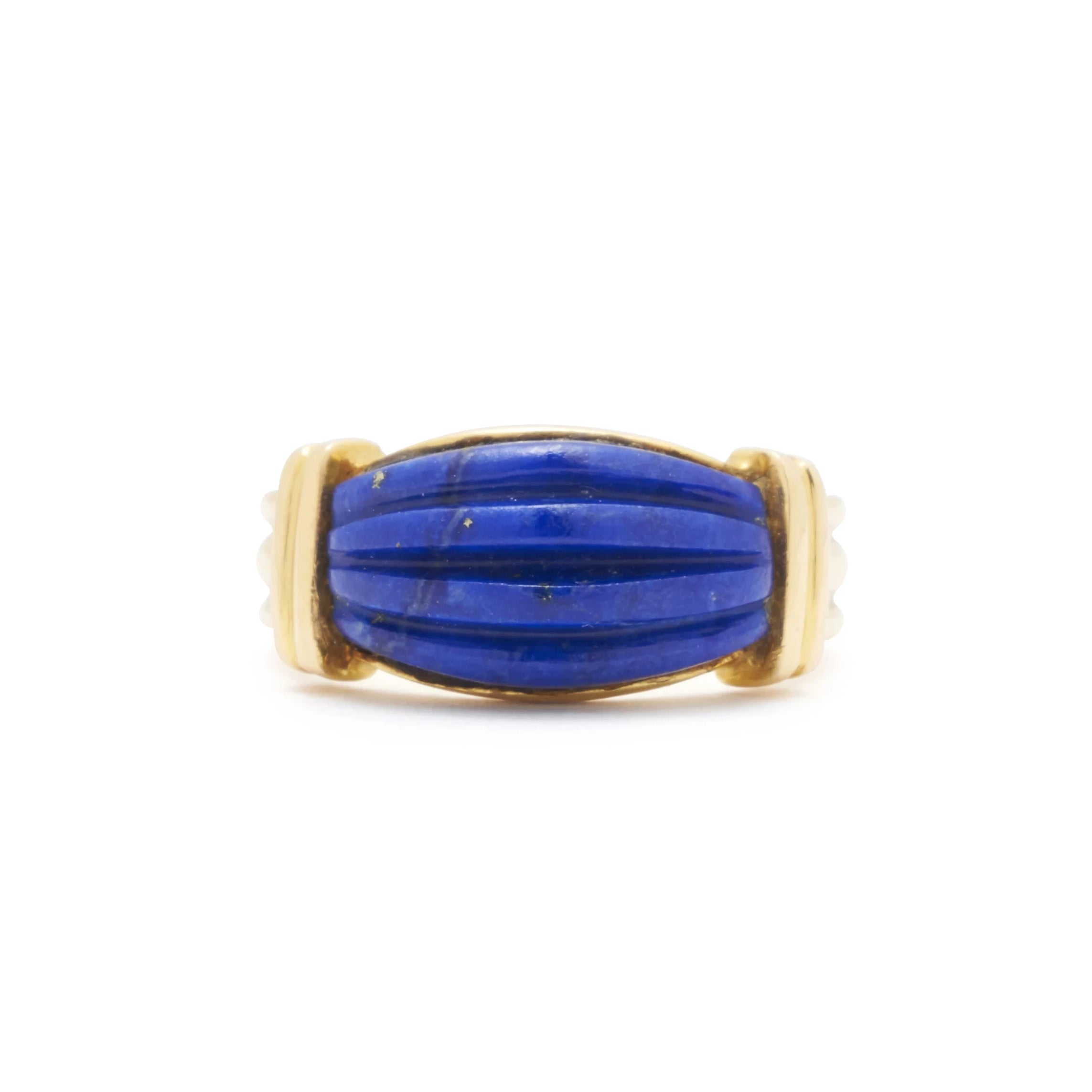 Carved Lapis Lazuli And 18k Gold Ring