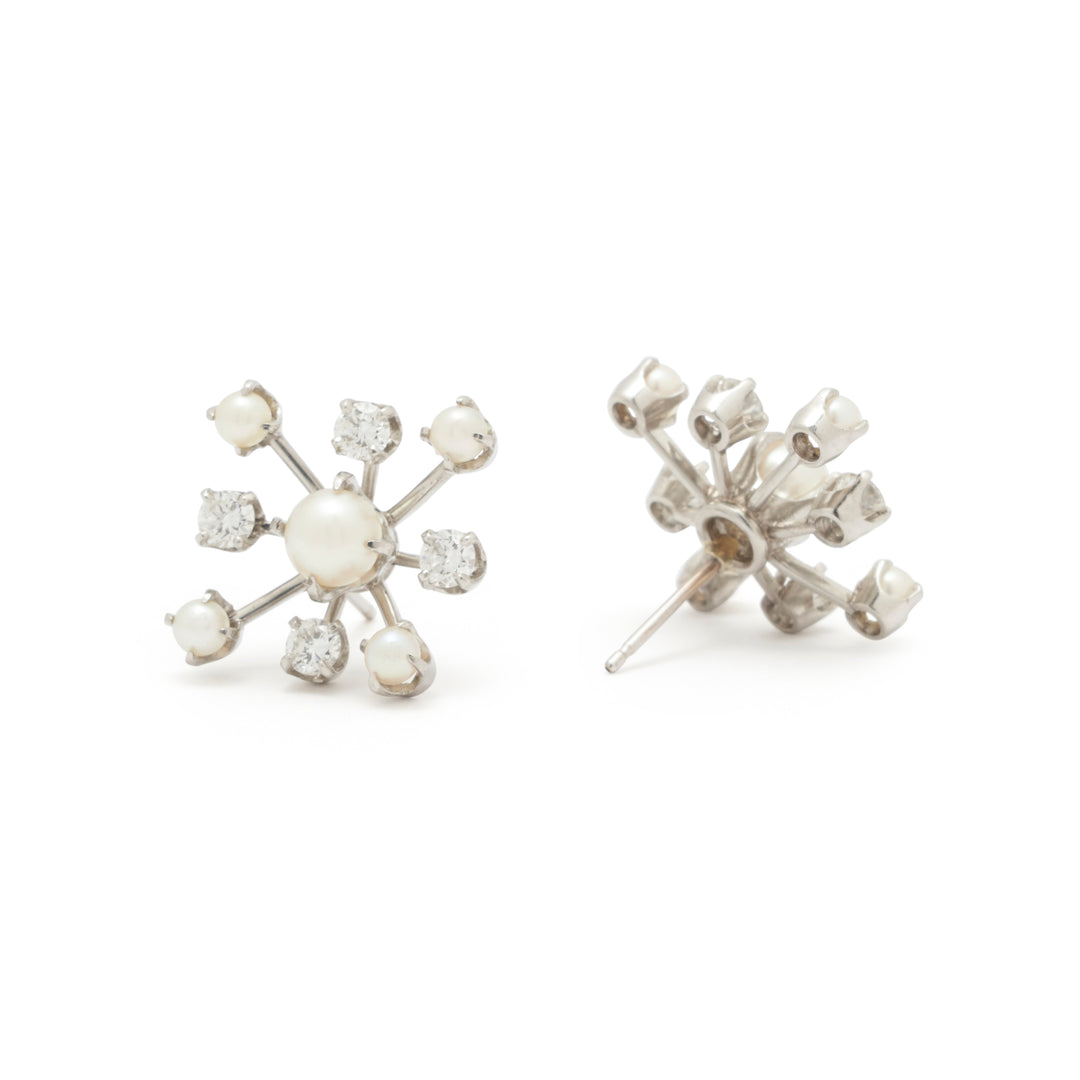 Diamond And Pearl 14k White Gold Sputnik Earrings