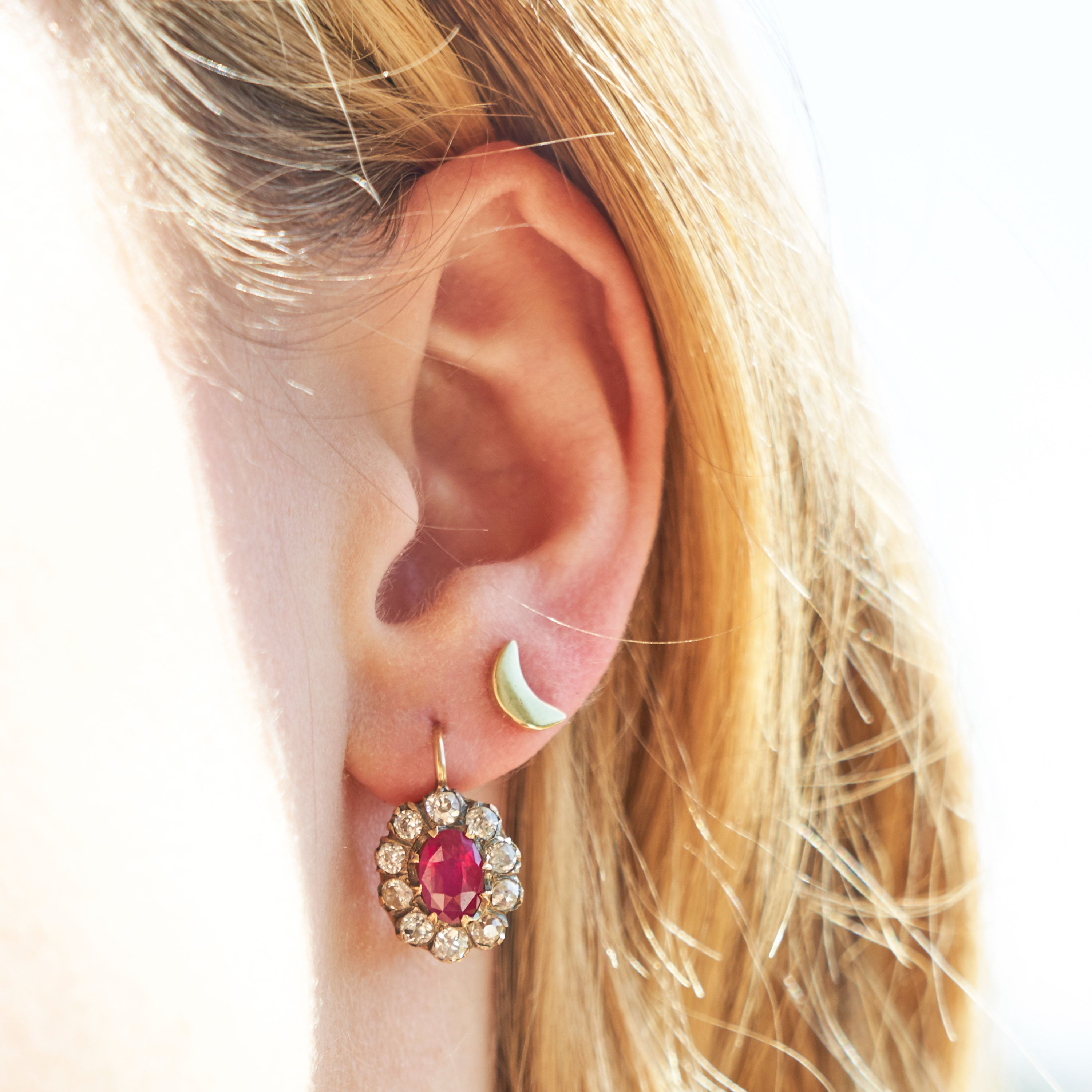 Victorian Ruby And Diamond 14k Rose Gold Cluster Earrings