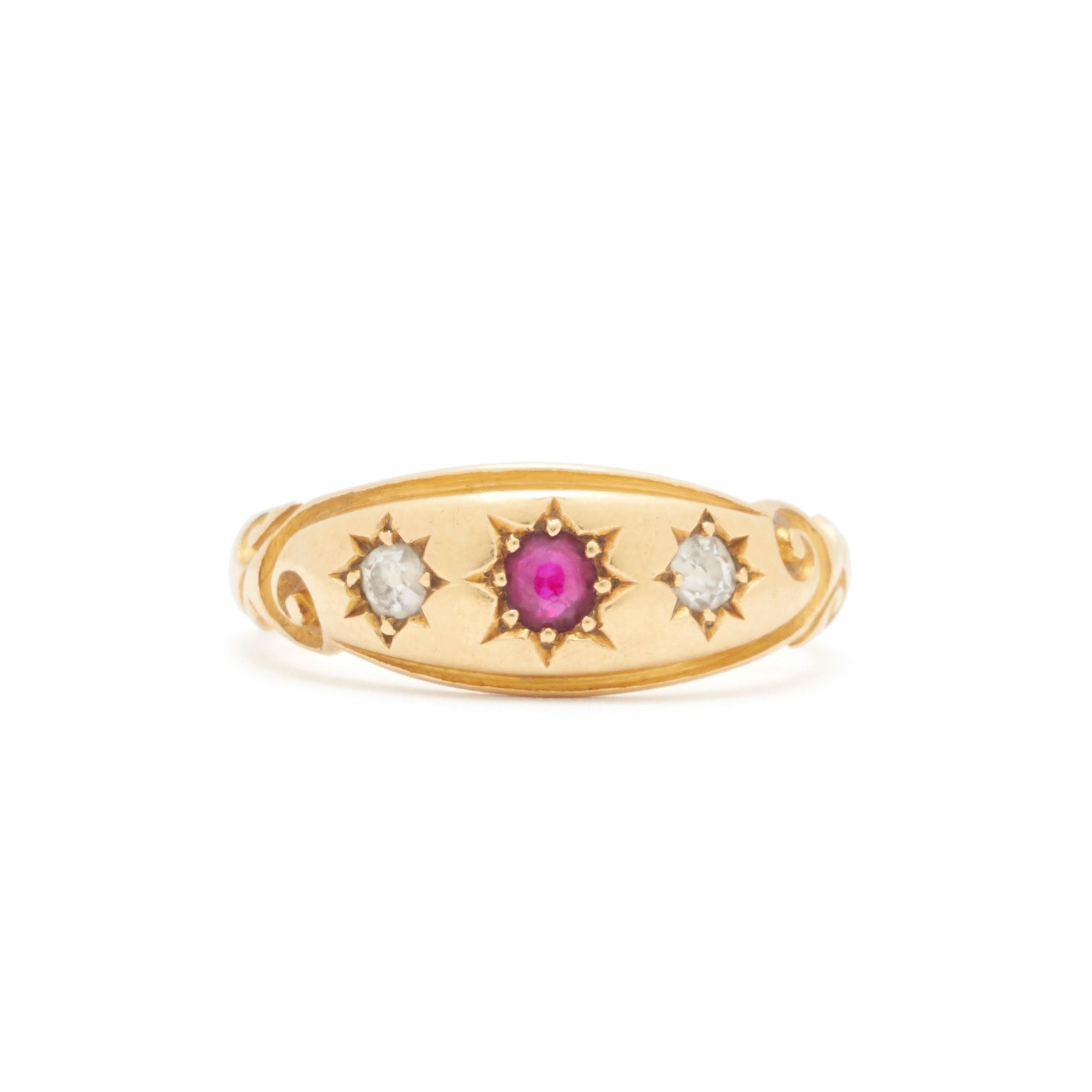 Victorian Ruby And Diamond 18k Gold Gypsy Ring