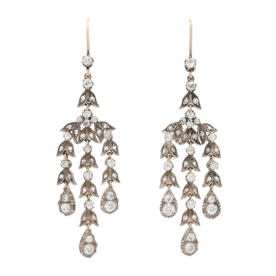 Victorian Rose And Old Mine Cut Diamond Chandelier Earrings