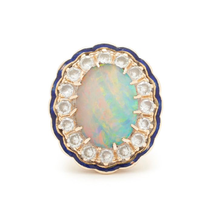 Large Opal Diamond Cluster And Enamel 14k Gold Ring