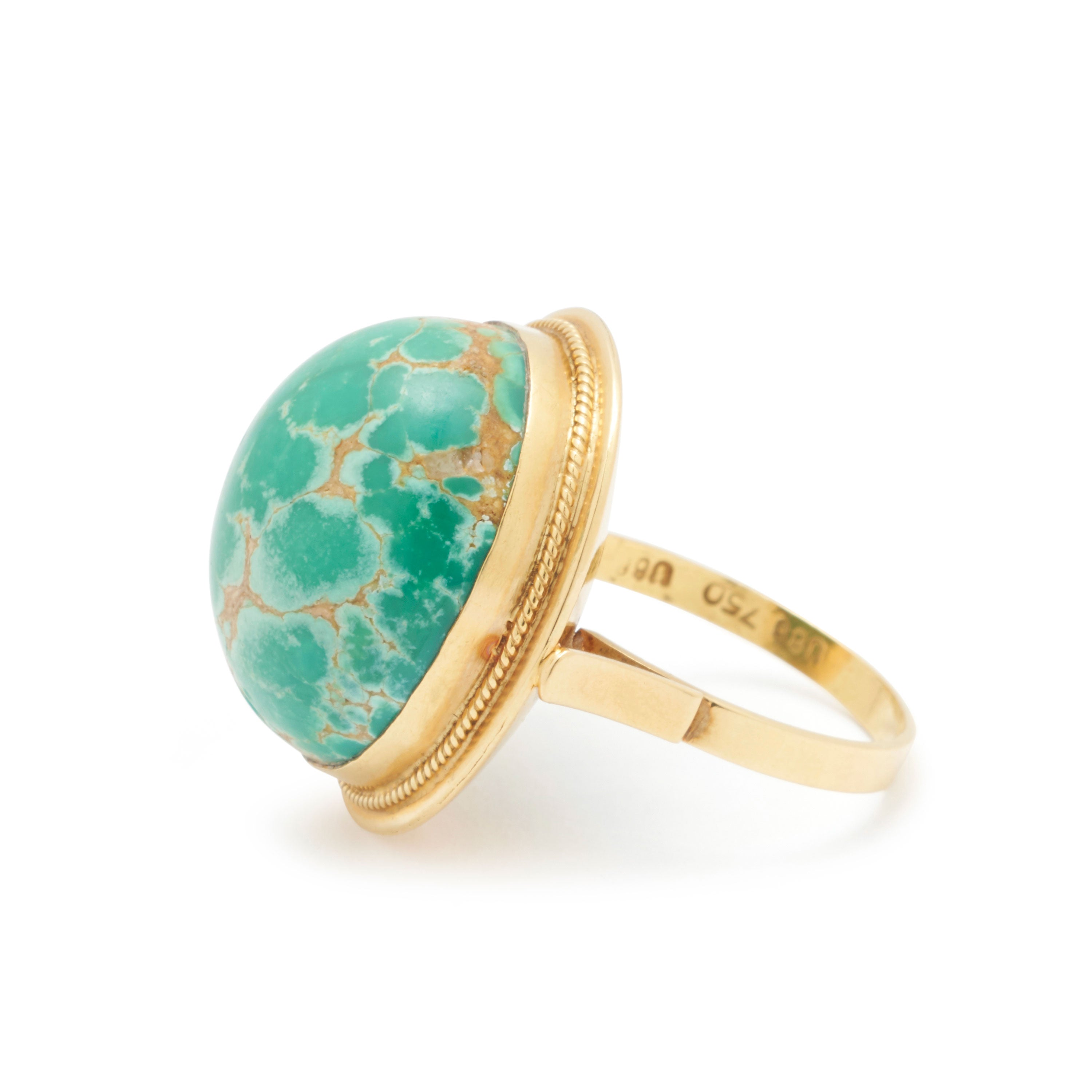 Large Green Turquoise And 18k Gold Ring