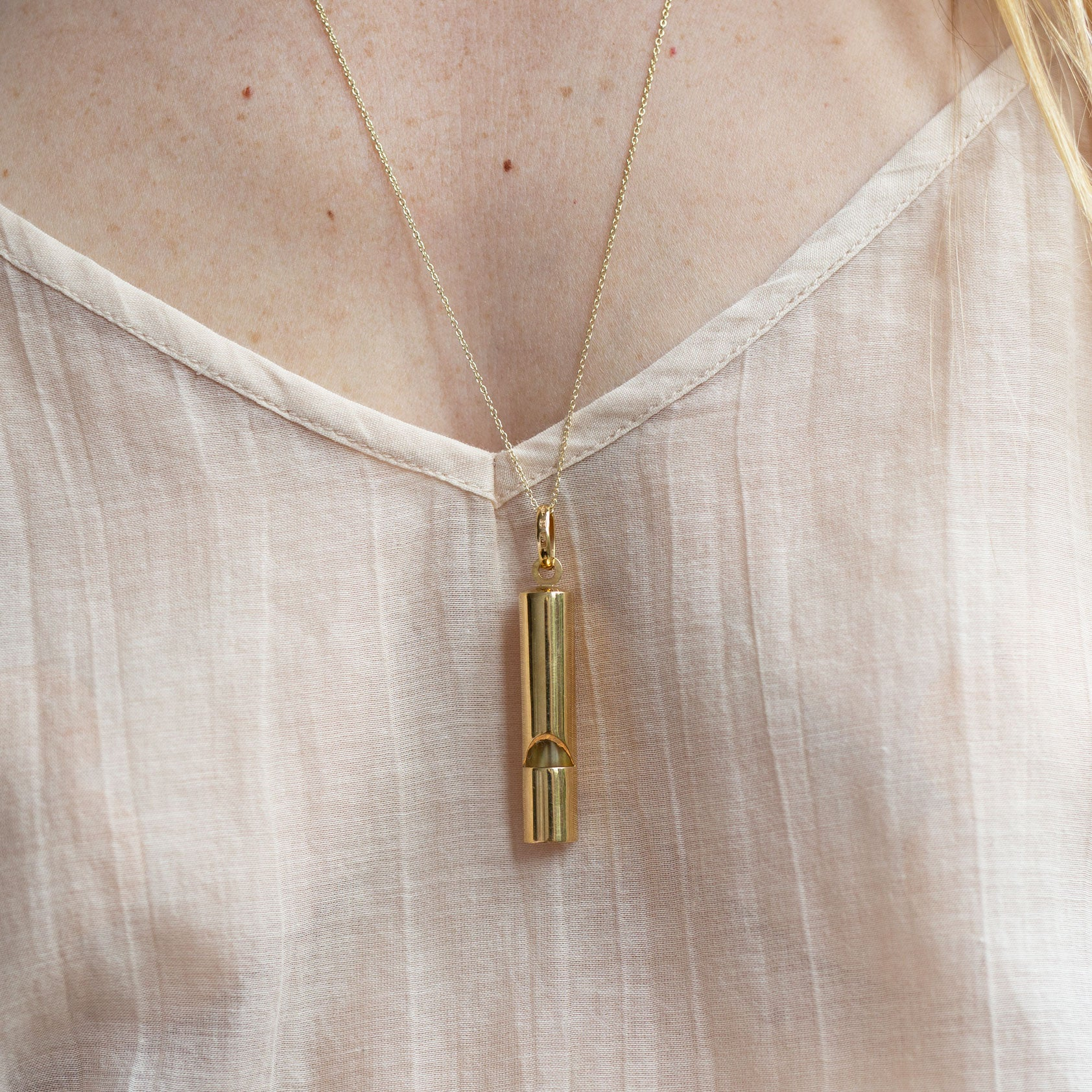 Large Whistle 14k Gold Pendant Necklace