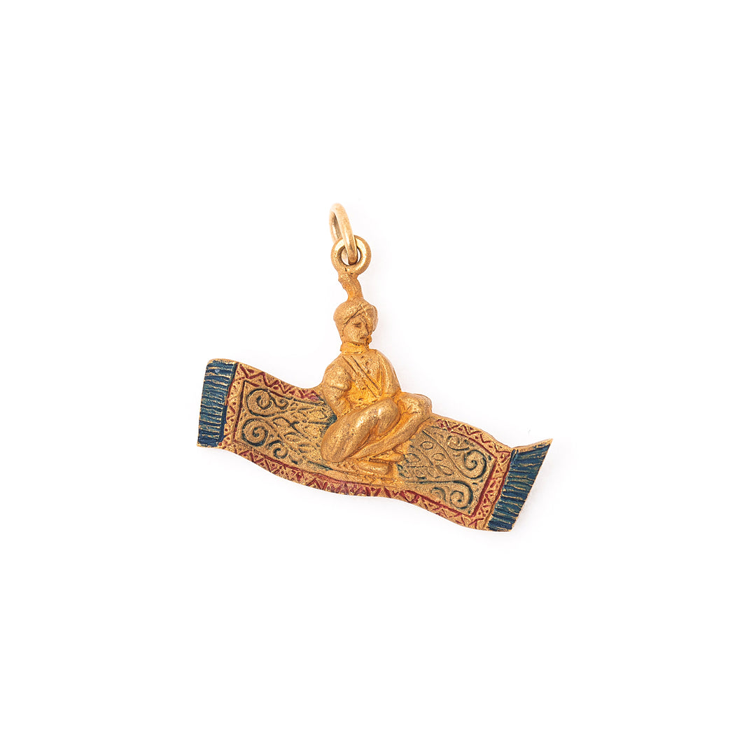 Magic Carpet Enamel And 14k Gold Charm
