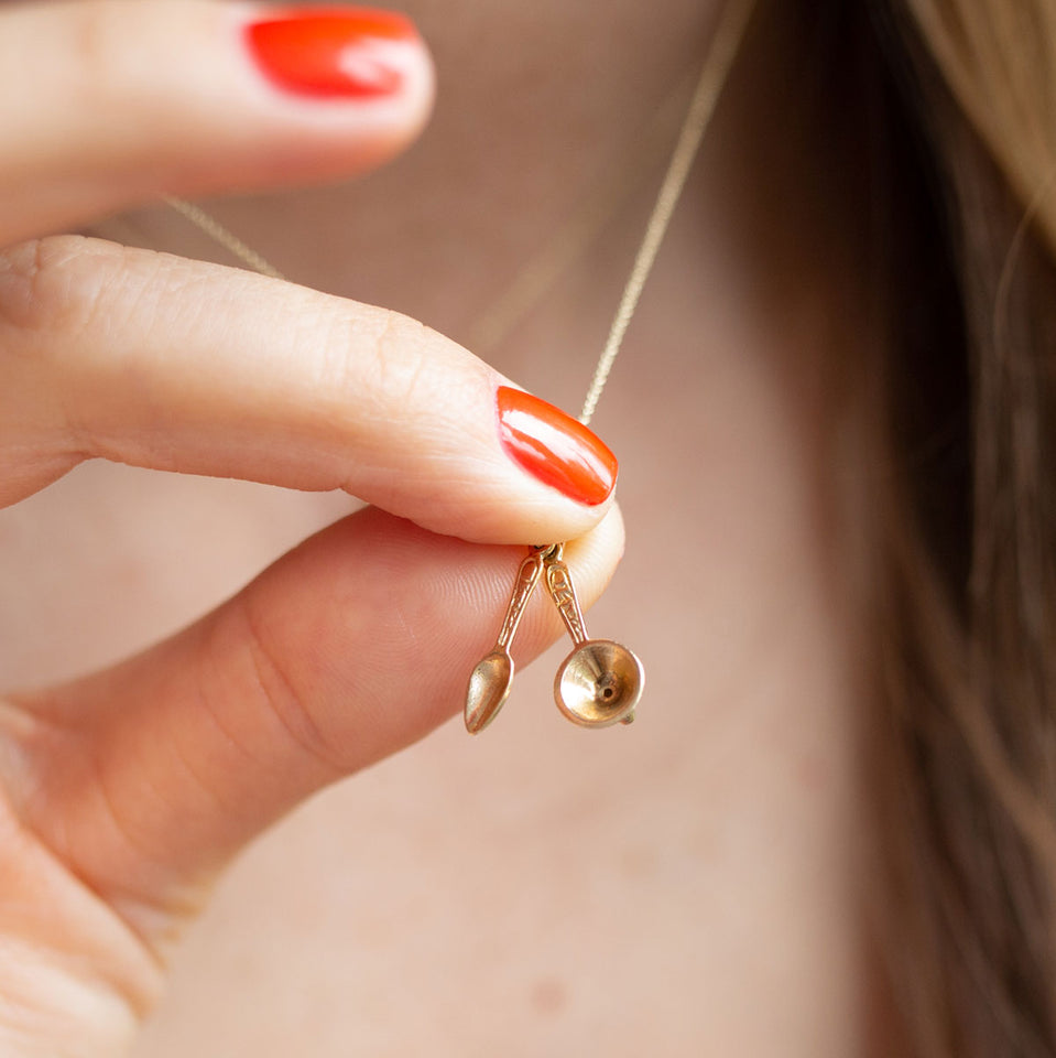 Spoon And Funnel Moveable 14k Gold Charm