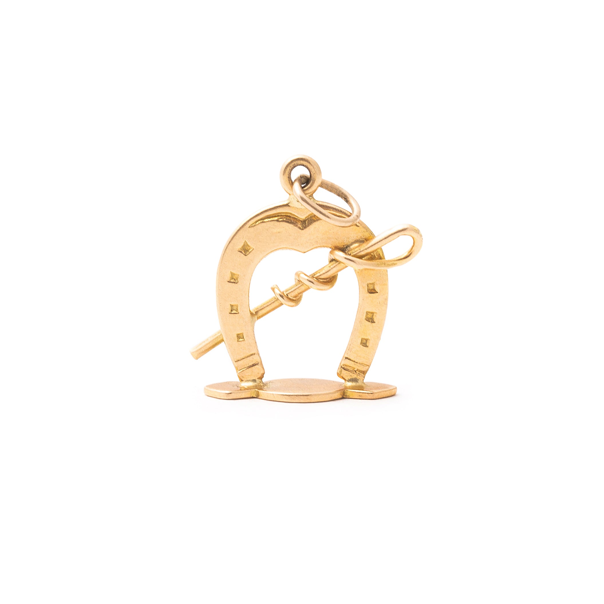 English Horseshoe And Riding Whip 18k Gold Charm