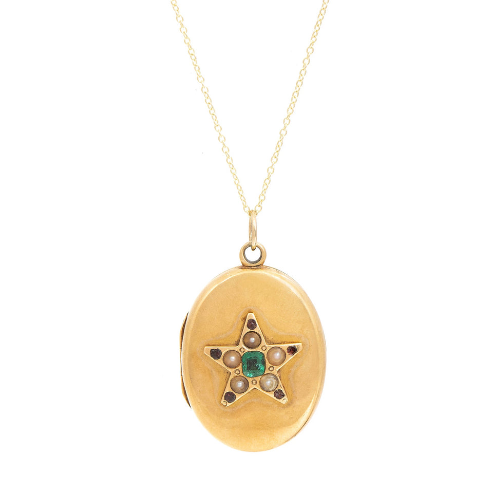 Victorian Star 15K Gold Locket