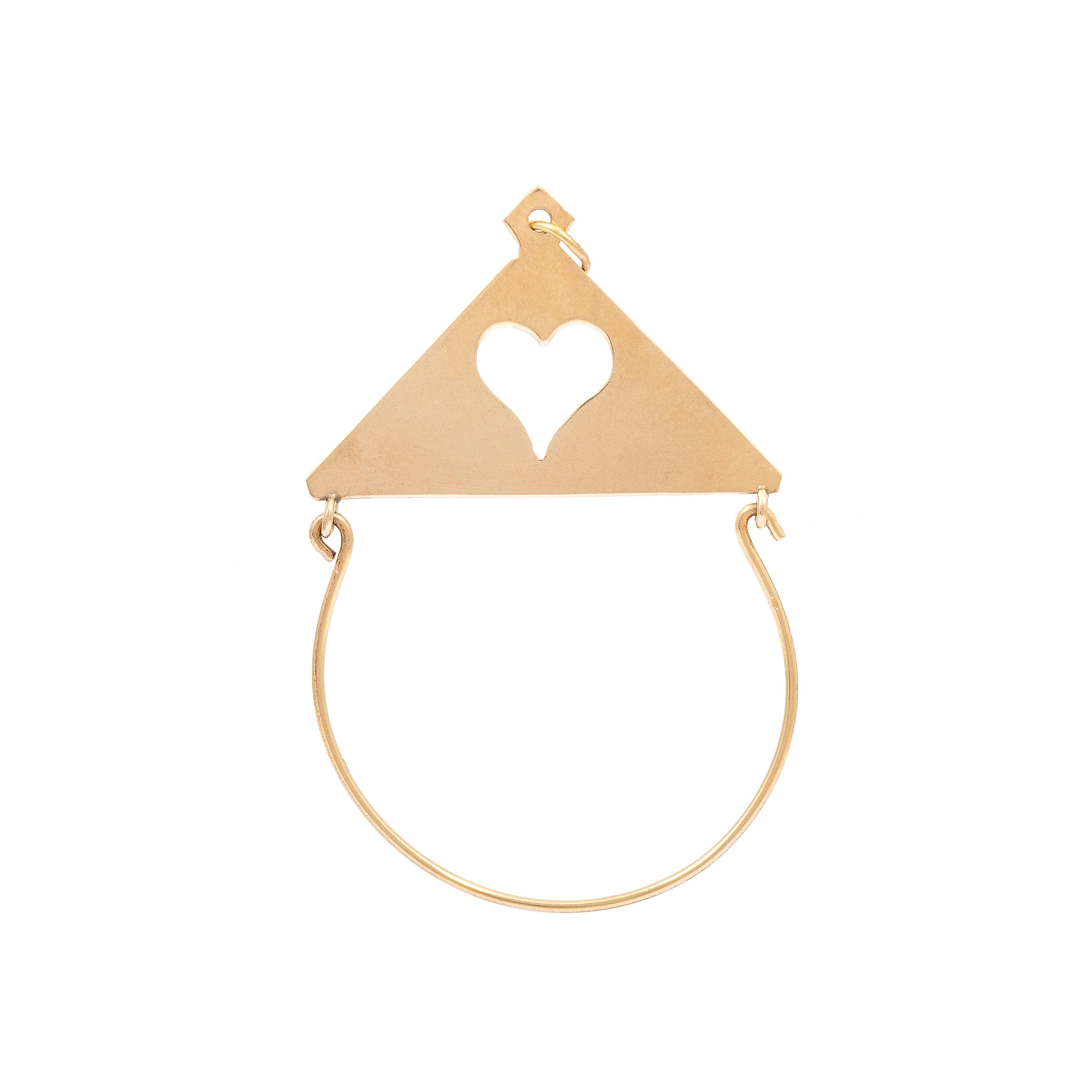 Heart Charm Holder 14k Gold Pendant