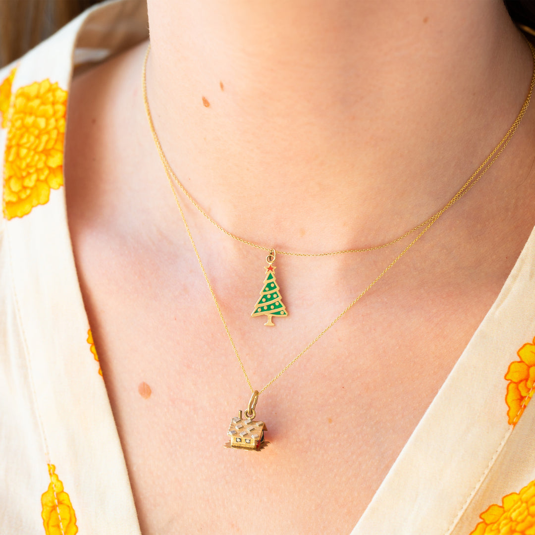 Christmas Tree 14K Gold and Enamel Charm