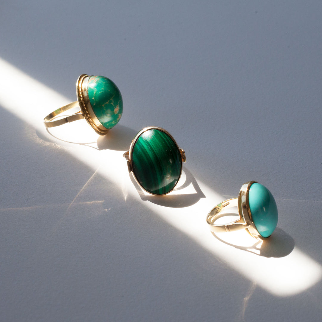 Modernist Malachite And 14k Gold Ring