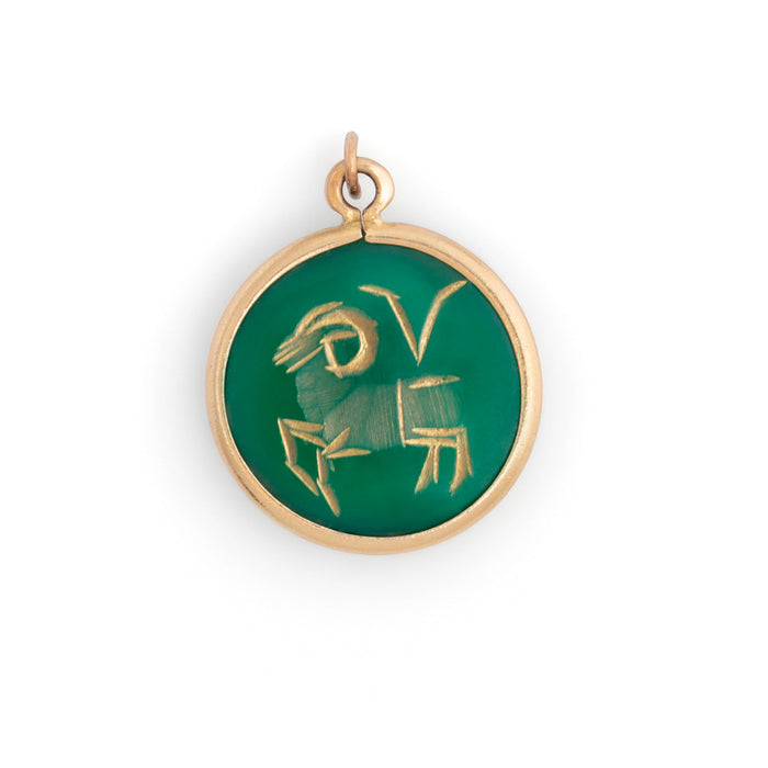 Aries 14K Gold and Carved Chalcedony Charm