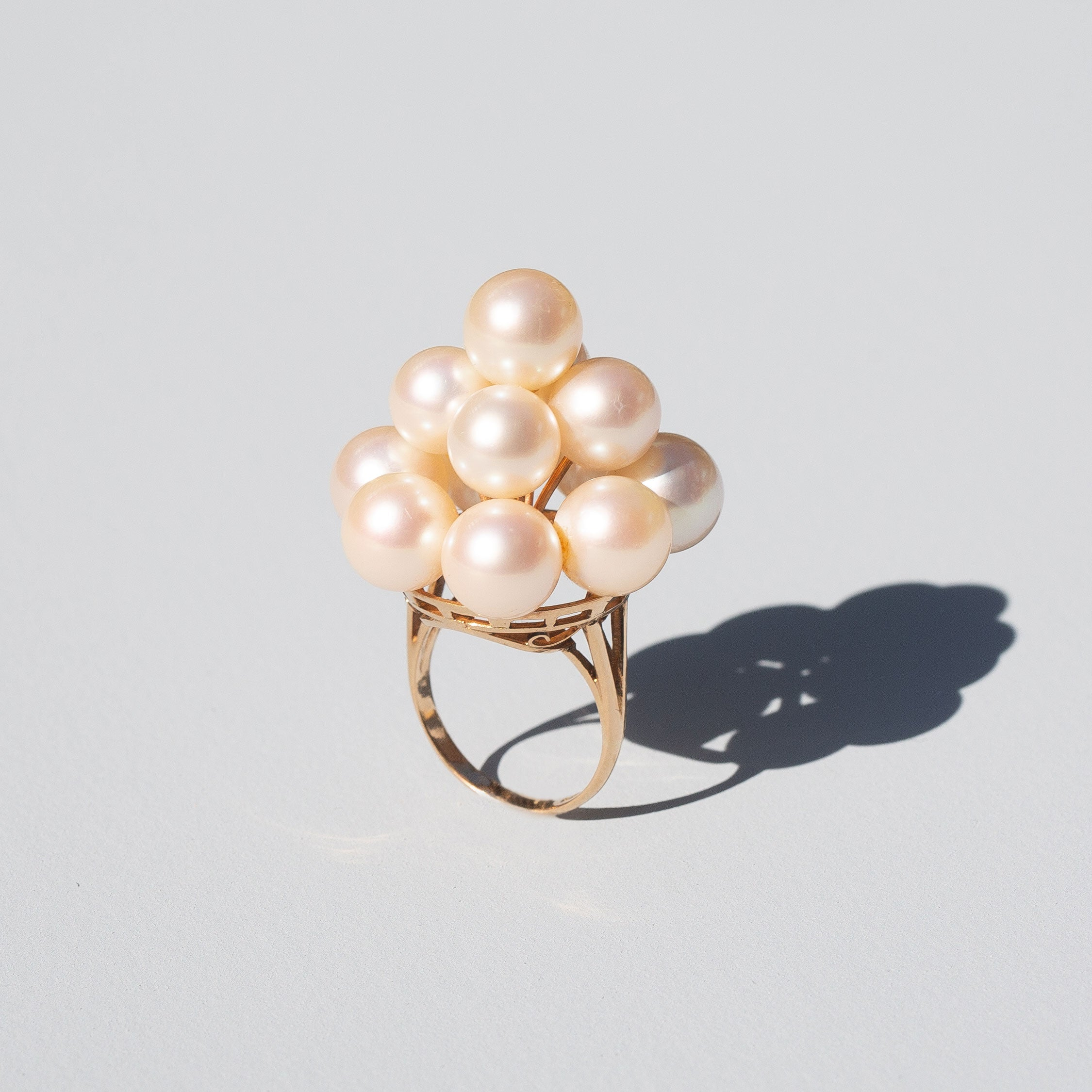 Pearl Beehive and 14k Gold Cocktail Ring
