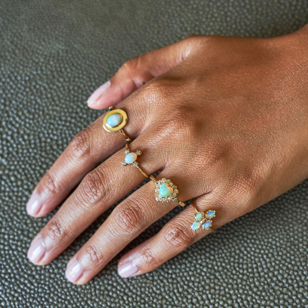 Victorian Opal Heart And Diamond Cluster 14k Gold Ring