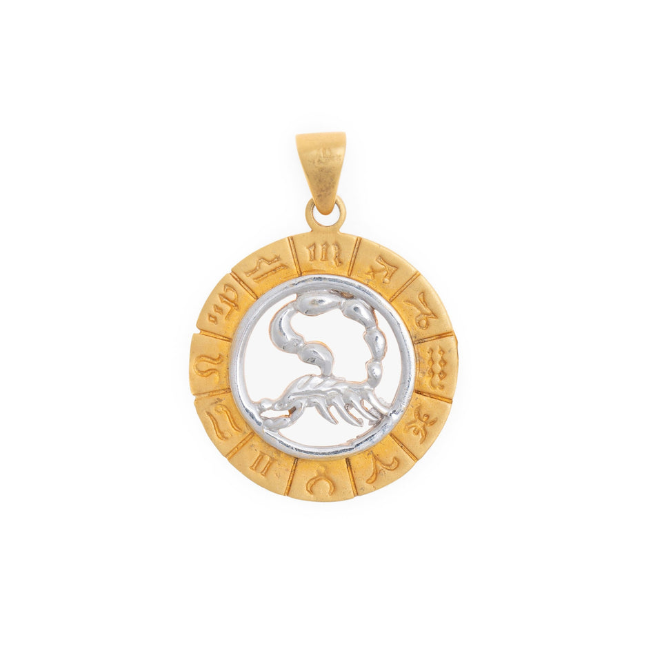 Scorpio Zodiac Wheel Bi-Color 14k Gold Charm
