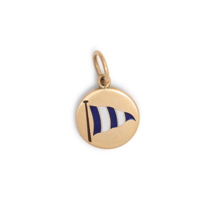 Enamel Flag And 14k Gold Disc Charm