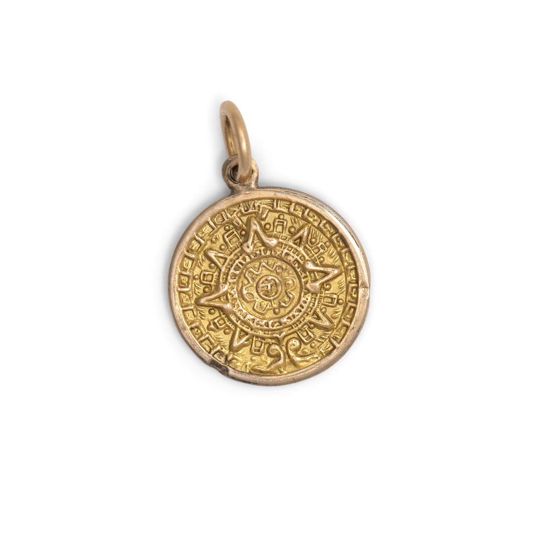 Capricorn 14k Gold Charm With Aztec Calendar