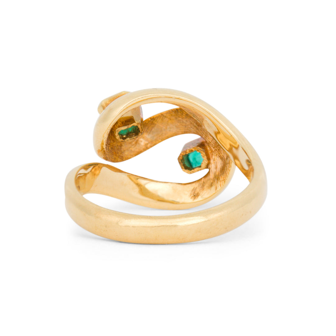 Emerald And 14k Gold Swirl Dome Ring