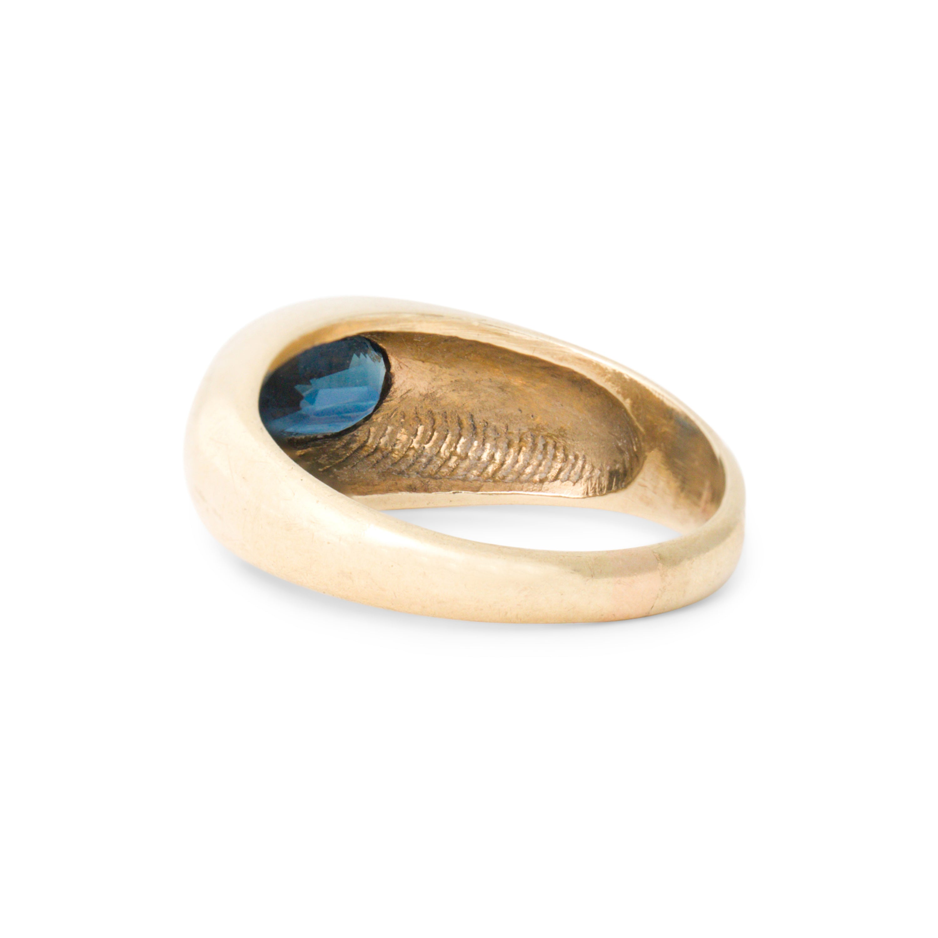 Dome With Sapphire 14k Gold Ring