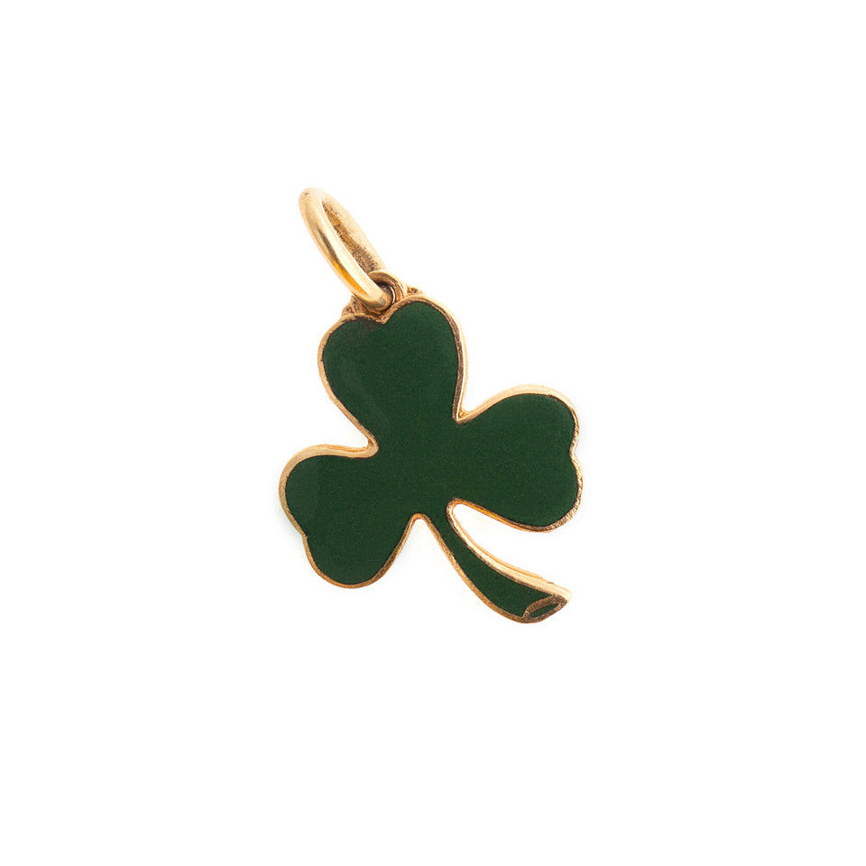 Shamrock Green Enamel And 14k Gold Charm