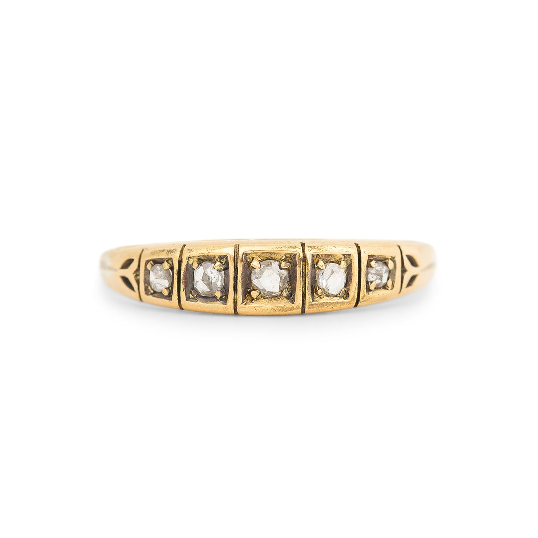Victorian Rose Cut Diamond And 14k Gold Band