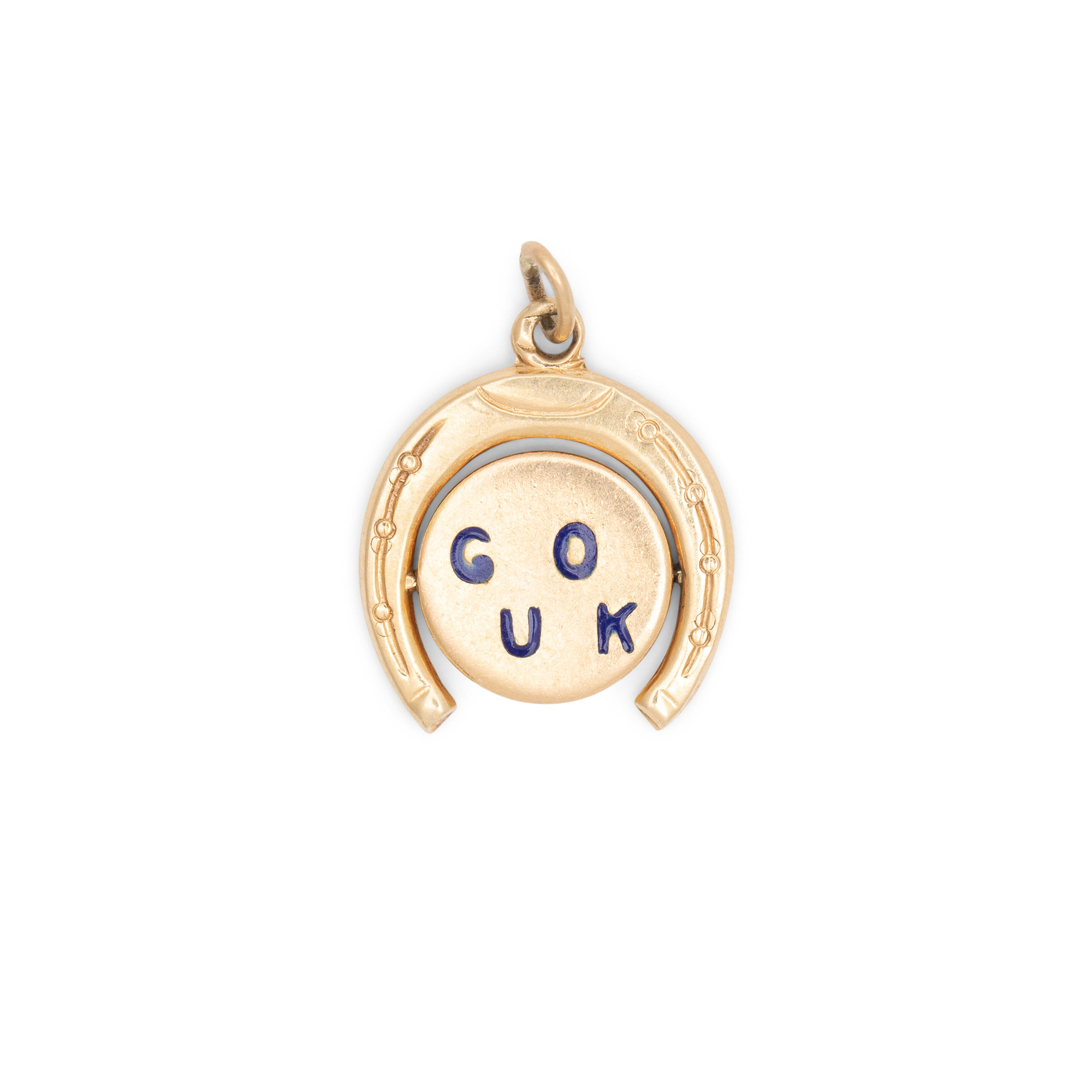 """Good Luck"" Horseshoe 14K Gold and Enamel Spinner Charm"