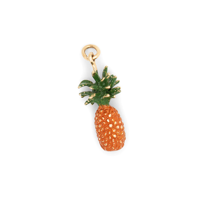 Pineapple With Enamel And 14k Gold Charm