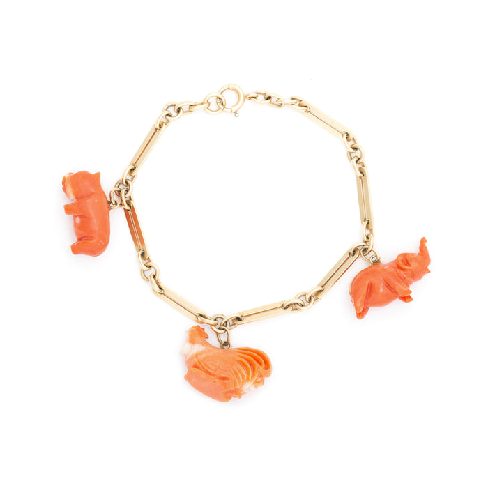 Victorian 14k Gold And Coral Animal Charm Bracelet
