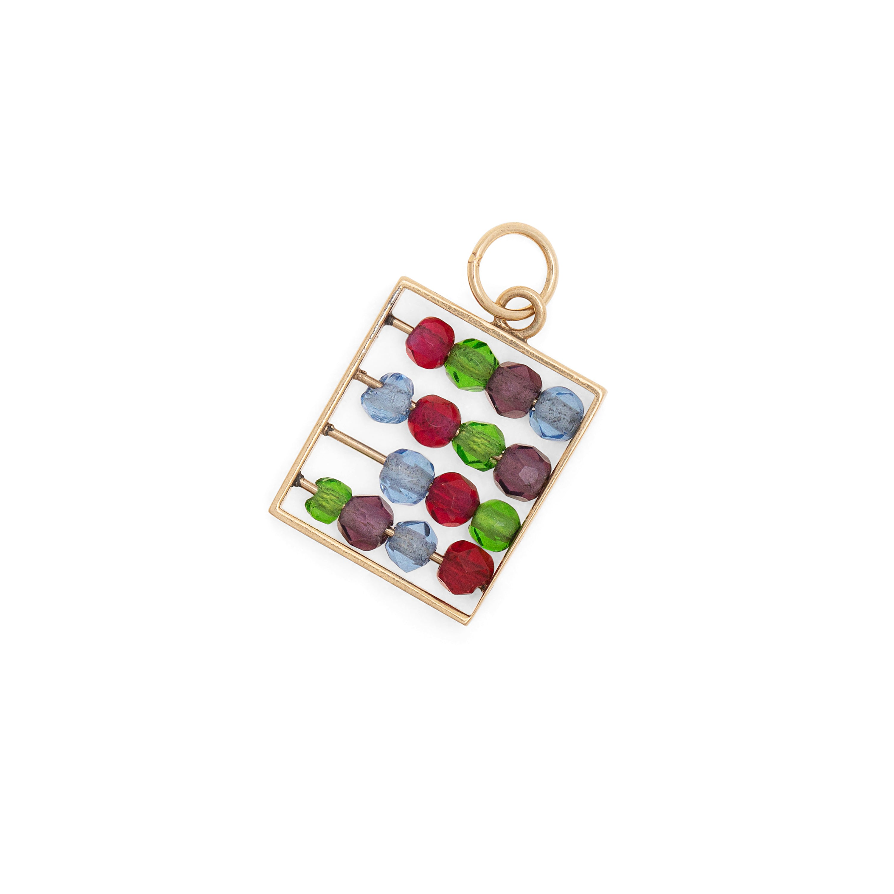 Movable Abacus 14K Gold and Plastic Bead Charm