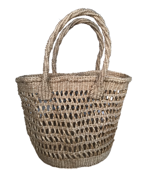 "Handwoven Sisal ""Shopping"" Basket with Handles"