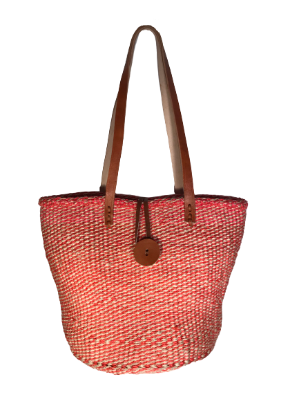 Red & White Patterned Basket with Leather Clasp