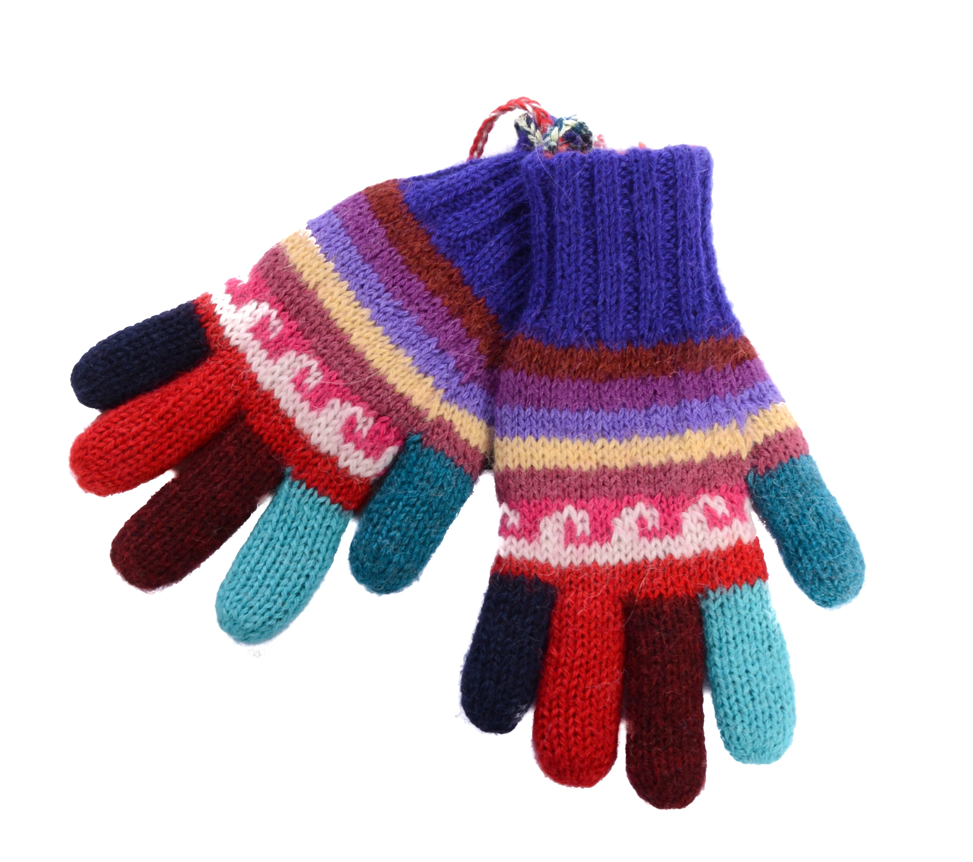 Hand Knit Kid's Reversible Gloves