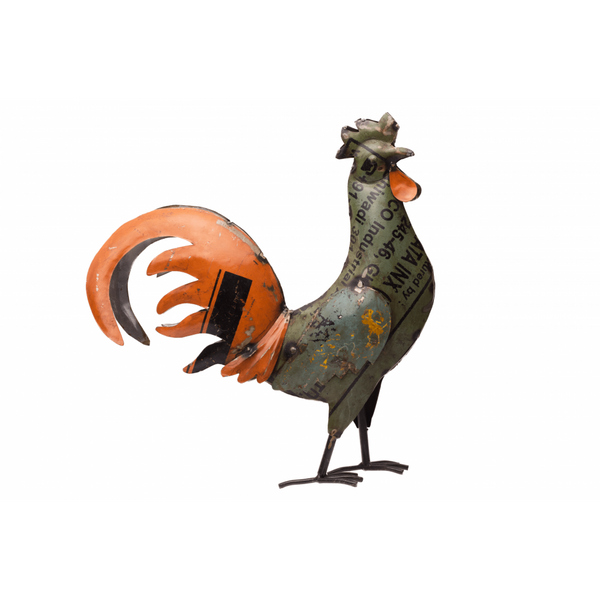 Recycled Iron Rooster Medium