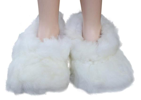 White Handmade Unisex Furry Alpaca Slippers
