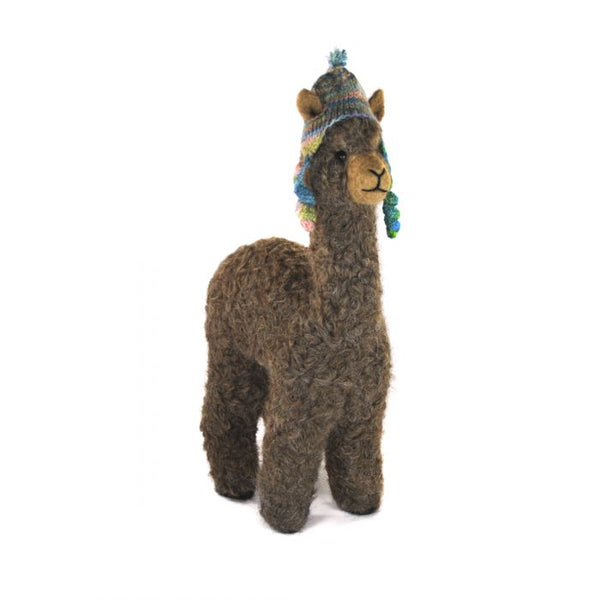"12"" Alpaca Felted Sculpture with Chullo"