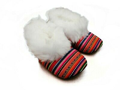 Handmade Alpaca Slippers with Folk Fabric