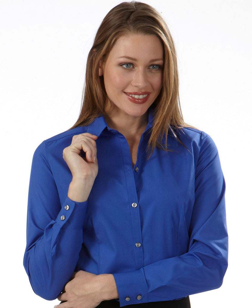 Van Heusen Ladies Long Sleeve Silky Poplin 13V114 - guyos apparel.com