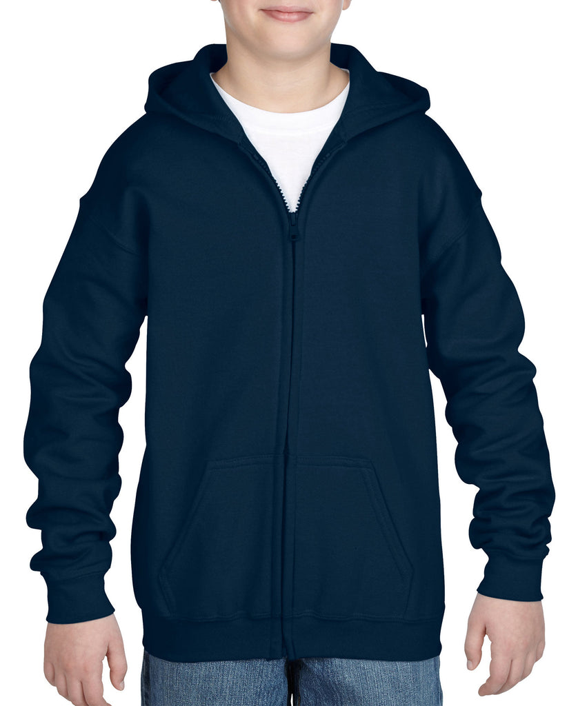 Gildan Heavy Blend Youth Full Zip Hooded Sweatshirt 18600B - guyos apparel.com