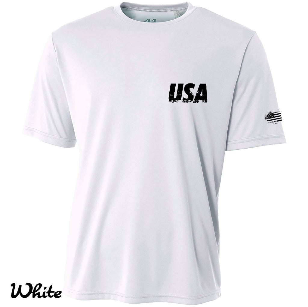Proud American Distressed FLAG Cooling Performance t shirt Moisture wicking tee