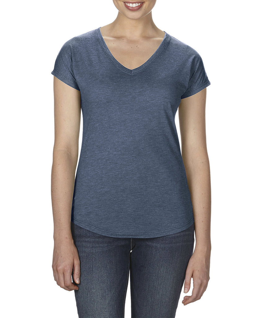 ANVIL Women's Tri-Blend V-Neck Tee A6750VL - guyos apparel.com