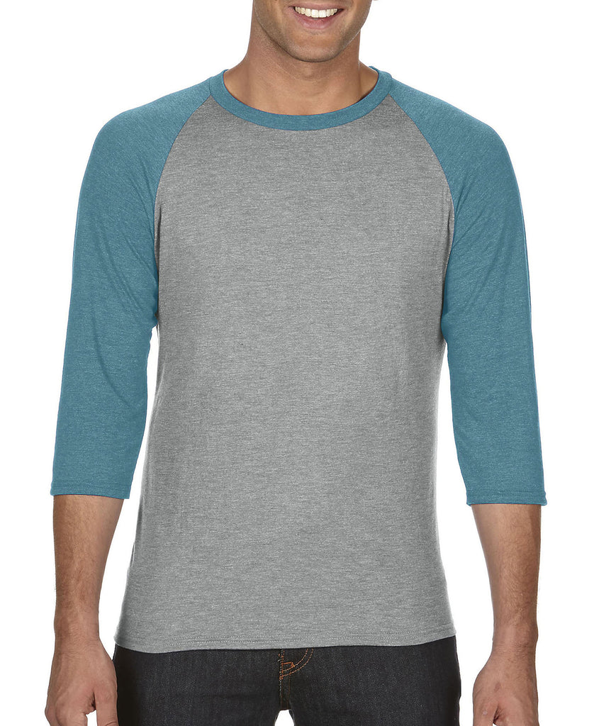 ANVIL Adult Tri-Blend 3/4 Sleeve Raglan Tee A6755 - guyos apparel.com