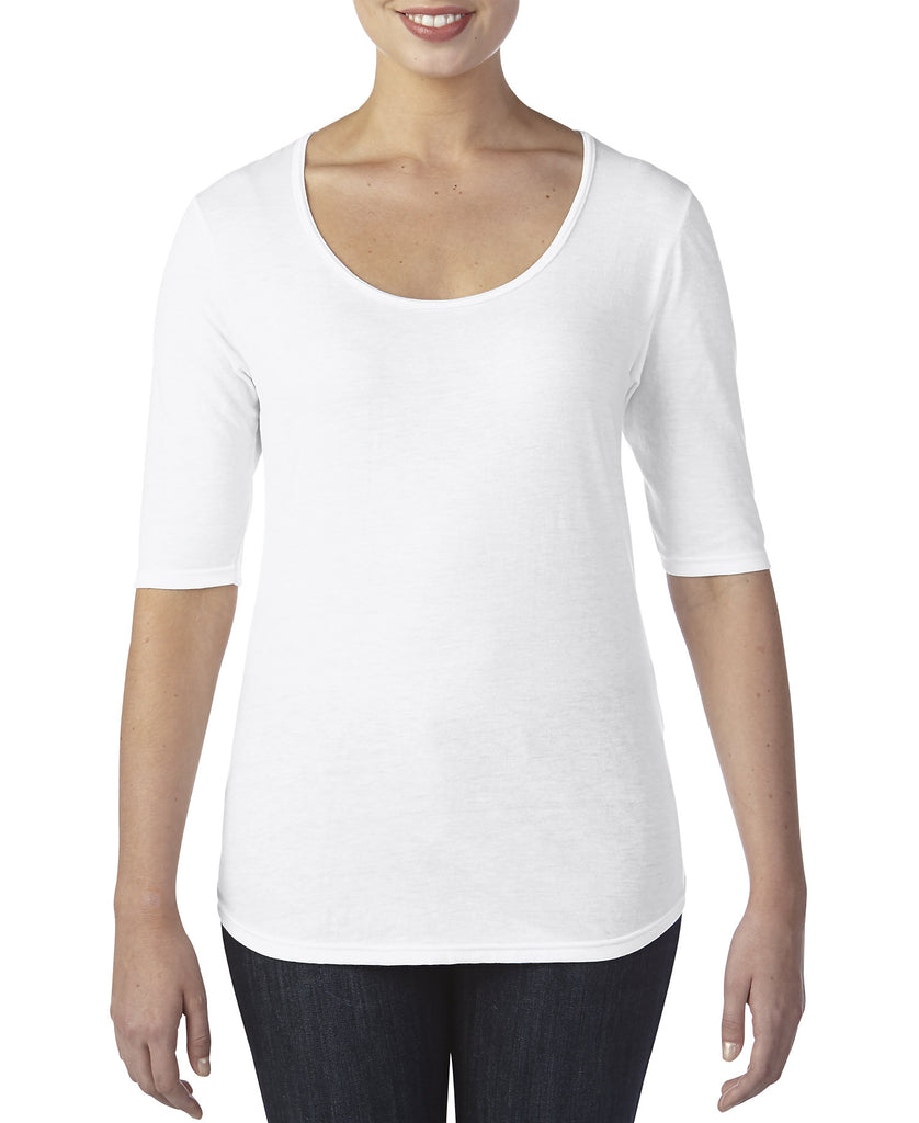 ANVIL Women's Tri-Blend Deep Scoop 1/2 Sleeve Tee A6756L - guyos apparel.com